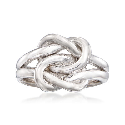 Italian Sterling Silver Double Love Knot Ring, , default