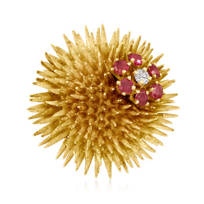 C. 1970 Vintage Tiffany Jewelry .10 Carat Diamond and .75 ct. t.w. Ruby Sea Urchin Pin in 18kt Yellow Gold