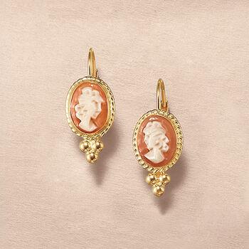 Bezel-Set Shell Cameo Drop Earrings in 14kt Yellow Gold , , default