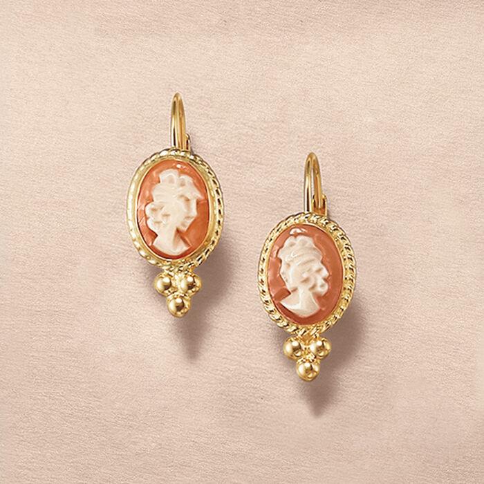 Bezel-Set Shell Cameo Drop Earrings in 14kt Yellow Gold