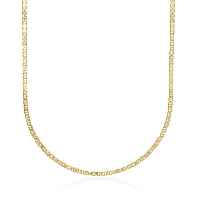 Men's 3mm 14kt Yellow Gold Marine Chain Necklace, , default