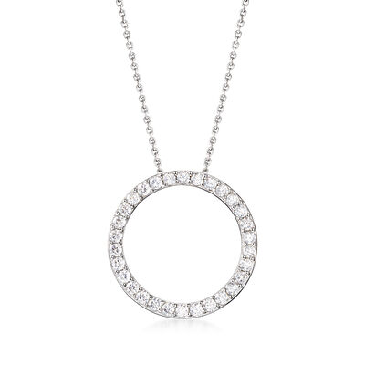 2.25 ct. t.w. CZ Open Eternity Circle Pendant Necklace in Sterling Silver