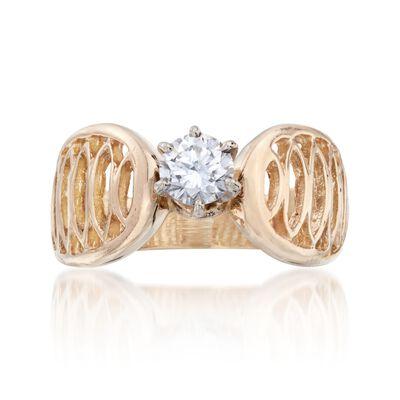 C. 1970 Vintage .45 Carat Diamond Openwork Ring in 14kt Yellow Gold, , default