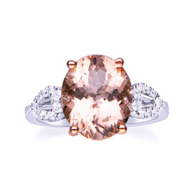 4.40 Carat Morganite and .26 ct. t.w. Diamond Ring in 14kt Two-Tone Gold