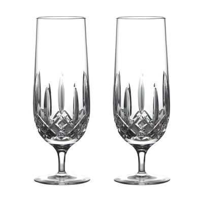 "Waterford Crystal ""Nouveau"" Set of 2 Lismore Hurricane Glasses"