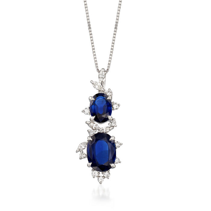 "C. 1990 Vintage 4.14 ct. t.w. Sapphire and .40 ct. t.w. Diamond Pendant Necklace in 18kt White Gold. 18"", , default"