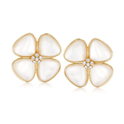 Mother-Of-Pearl and .42 ct. t.w. Diamond Flower Earrings in 14kt Yellow Gold, , default