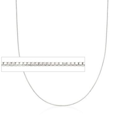 .8mm 14kt White Gold Adjustable Box Chain Necklace, , default