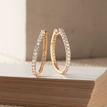 "2.00 ct. t.w. Diamond Oval Hoop Earrings in 14kt Yellow Gold. 1 1/4"", , default"