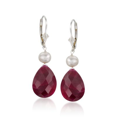 20.00 ct. t.w. Ruby and Cultured Pearl Drop Earrings in Sterling Silver, , default
