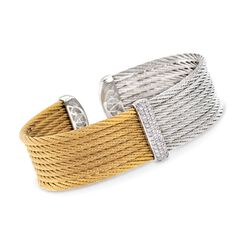 "ALOR ""Classique"" .34 ct. t.w. Diamond Cuff Bracelet in Two-Tone Stainless Steel and 18kt White Gold. 7"", , default"