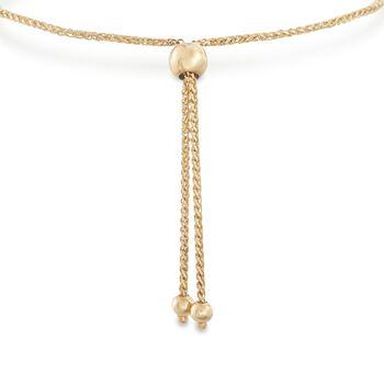 14kt Yellow Gold Woven Bar Bolo Bracelet , , default