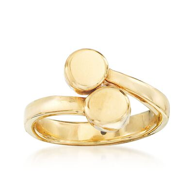 Italian 14kt Yellow Gold Double-Circle Bypass Ring, , default