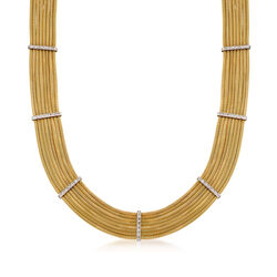 """C. 1980 Vintage 14kt Yellow Gold Multi-Row Necklace With .65 ct. t.w. Diamond Stations. 17.5"""", , default"""