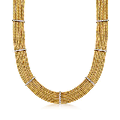 C. 1980 Vintage 14kt Yellow Gold Multi-Row Necklace with .65 ct. t.w. Diamond Stations, , default