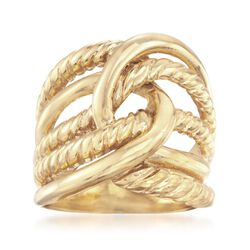 Italian 24kt Yellow Gold Over Sterling Silver Roped Ring, , default