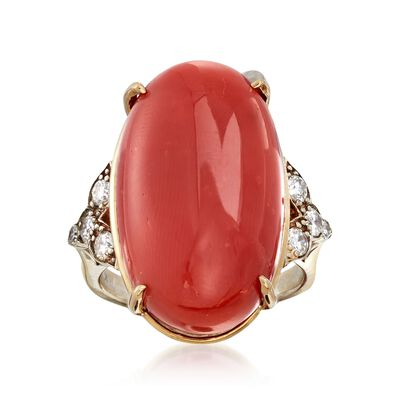 C. 1960 Vintage Coral and .40 ct. t.w. Diamond Ring in 14kt Two-Tone Gold, , default
