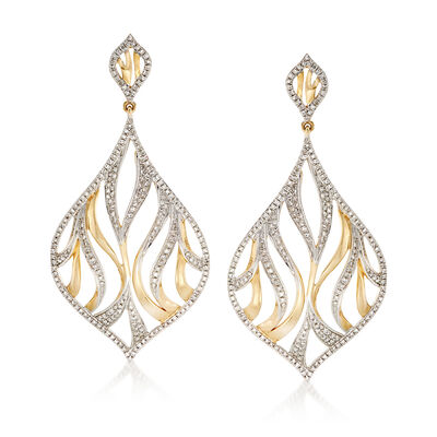 1.17 ct. t.w. Diamond Openwork Teardrop Earrings in 14kt Yellow Gold, , default