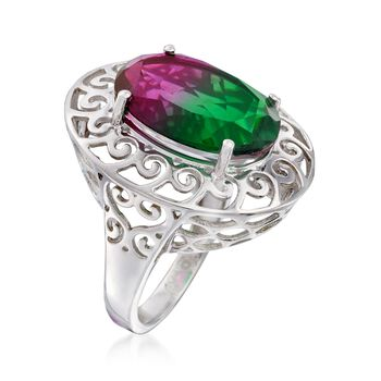 12.00 Carat Watermelon Quartz Triplet Openwork Border Ring in Sterling Silver, , default