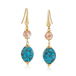 Italian Pink and Blue Murano Glass Bead Drop Earrings in 18kt Gold Over Sterling, , default
