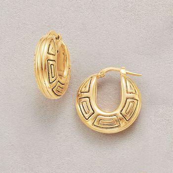 """Italian 14kt Yellow Gold Geometric Hoop Earrings. 7/8"""", , default"""
