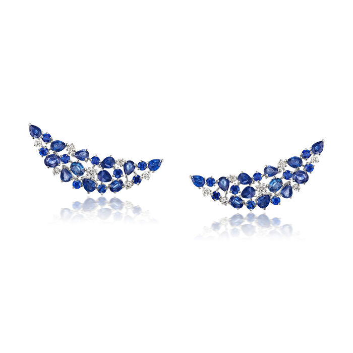 6.10 ct. t.w. Sapphire and .50 ct. t.w. Diamond Ear Climbers in 18kt White Gold