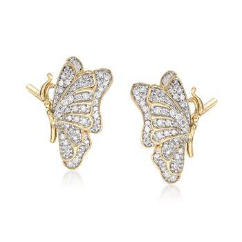 .33 ct. t.w. Diamond Butterfly Earrings in 14kt Gold Over Sterling , , default