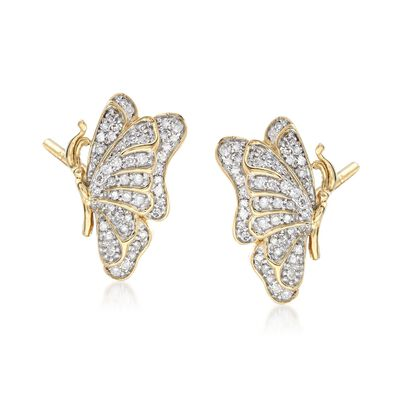 .33 ct. t.w. Diamond Butterfly Earrings in 14kt Gold Over Sterling, , default