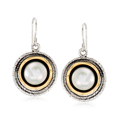9.5-10mm Cultured Pearl Drop Earrings in Oxidized Sterling Silver and 14kt Yellow Gold, , default