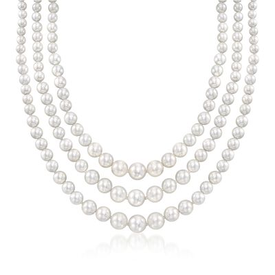 6-12mm Shell Pearl Graduated Three-Strand Necklace in Sterling Silver, , default
