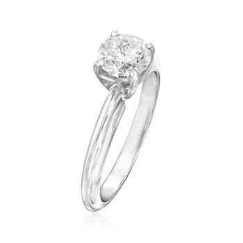 C. 2000 Vintage .96 Carat Diamond Solitaire Ring in 14kt White Gold. Size 5.5, , default