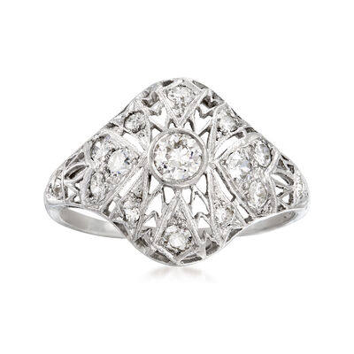 C. 1950 Vintage .60 ct. t.w. Diamond Filigree Ring in Platinum