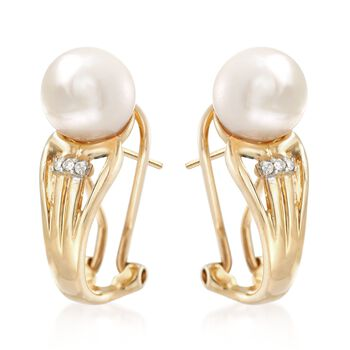 7-7.5mm Cultured Pearl Earrings with Diamond Accents in 14kt Yellow Gold