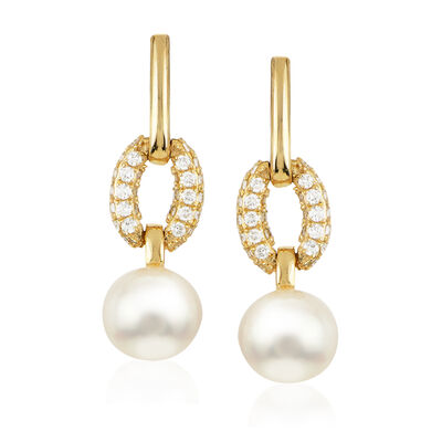 8-8.5mm Cultured Akoya Pearl and .80 ct. t.w. Diamond Drop Earrings in 14kt Yellow Gold, , default