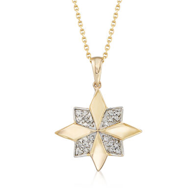 .11 ct. t.w. Pave Diamond Flower Pendant Necklace in 14kt Yellow Gold with White Rhodium, , default