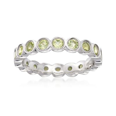 1.10 ct. t.w. Bezel-Set Peridot Eternity Band in Sterling Silver, , default