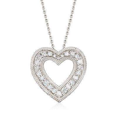.50 ct. t.w. Diamond Open Heart Pendant Necklace in Sterling Silver, , default