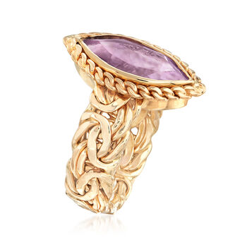 3.50 Carat Amethyst Byzantine Ring in 14kt Yellow Gold. Size 8, , default