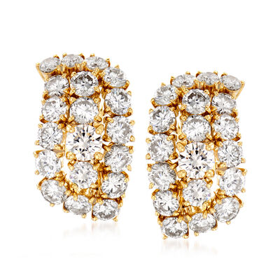 C. 1980 Vintage 5.50 ct. t.w. Diamond Cluster Earrings in 18kt Yellow Gold, , default