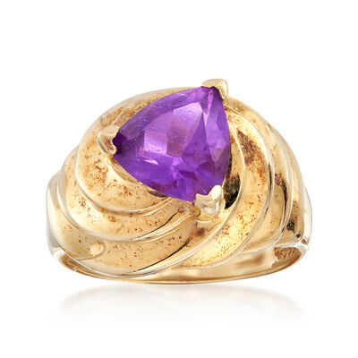 C. 1980 Vintage 2.15 Carat Amethyst Ring in 10kt Yellow Gold, , default