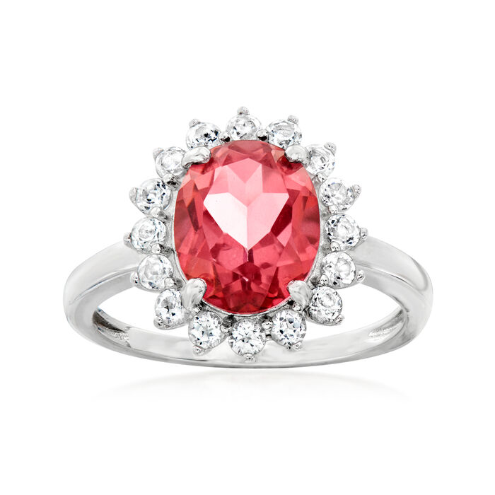 2.60 Carat Pink Quartz and .60 ct. t.w. White Topaz Ring in Sterling Silver
