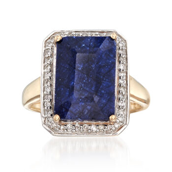 7.00 Carat Sapphire and .20 ct. t.w. Diamond Ring in 14kt Yellow Gold, , default