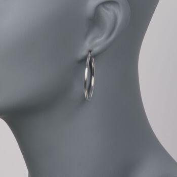 """Roberto Coin 18kt White Gold Hoop Earrings. 1 3/8"""", , default"""