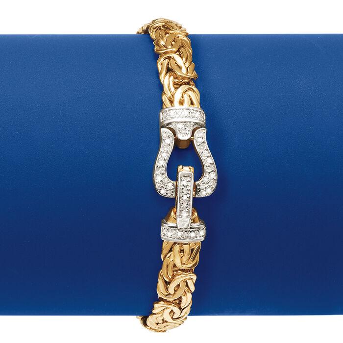 .29 ct. t.w. Diamond and 14kt Yellow Gold Byzantine Buckle Bracelet
