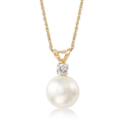 8-8.5mm Cultured Akoya Pearl and Diamond Accent Necklace in 14kt Yellow Gold, , default