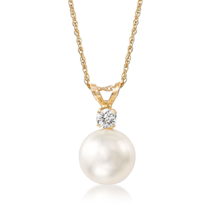"8-8.5mm Cultured Akoya Pearl and Diamond Accent Necklace in 14kt Yellow Gold. 18"", , default"