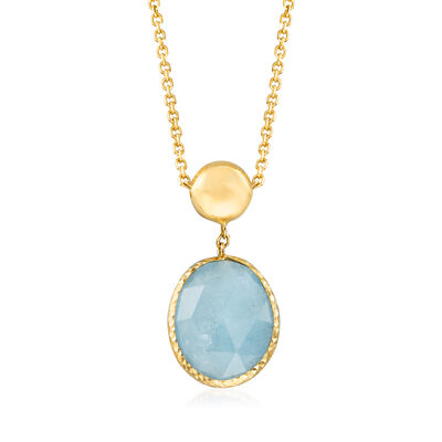 Italian 3.60 Carat Aquamarine Necklace in 14kt Yellow Gold, , default