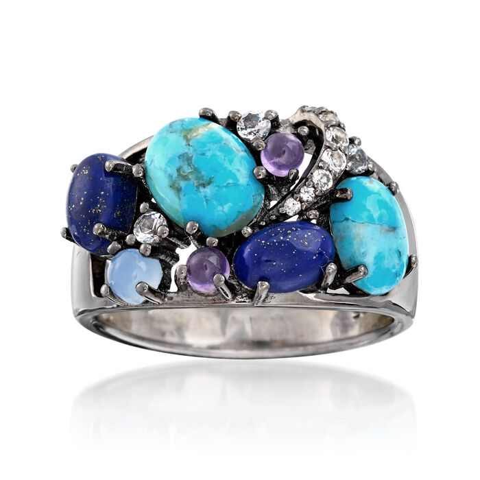 Turquoise and Lapis Ring With .20 ct. t.w. Multi-Stones in Sterling Silver, , default