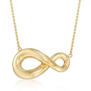 "Italian 18kt Gold Over Sterling Silver Abstract Infinity Symbol Necklace. 18"", , default"