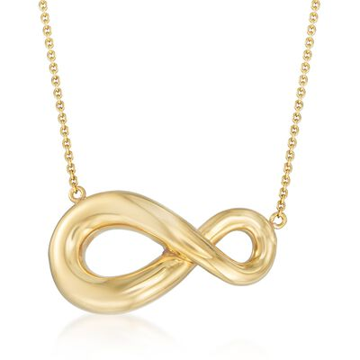 Italian 18kt Gold Over Sterling Silver Abstract Infinity Symbol Necklace, , default